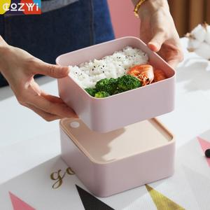 Image 5 - Plastic Lunch box On the Go Packing Lunchbox With Spoon Chopsticks Double Layer Portable Bento Box Food Container