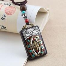 Этнический Тибетский буддизм черное дерево кулон ожерелье для