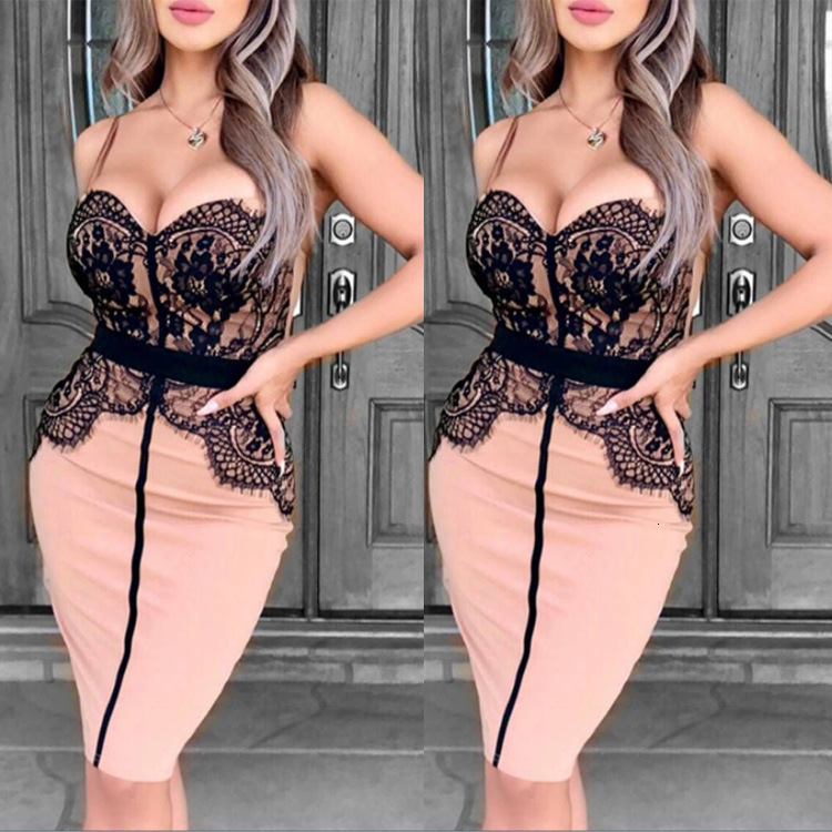 BacklakeGirls Sexy Lace Sweetheart Spaghetti Strap Split Joint Cocktail Dress Knee Length Evening Party Dress Vestido De Coctel