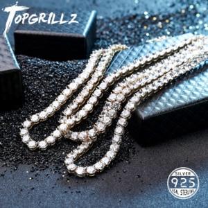 Image 1 - Collar de plata de ley 925 con circonita cúbica brillante para hombre, cadena dorada y plateada, estilo Hip Hop, de 3 a 6mm