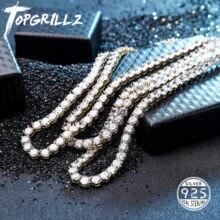 Yeni 925 ayar gümüş 3 6mm erkek kolye Bling CZ buzlu Out Hip Hop bağlantı tenis zinciri gümüş altın kolye takı hediye için