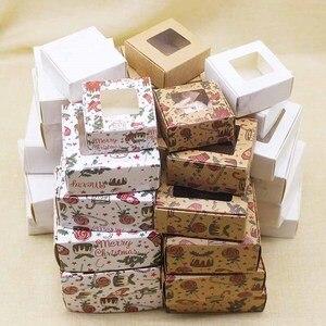 Подарочная коробка конфет на окно с веселым рождественским принтом 10 шт 9x9x 4 см/8x8x4 см Подарочная коробка с окном и мраморным стилем посылка ...