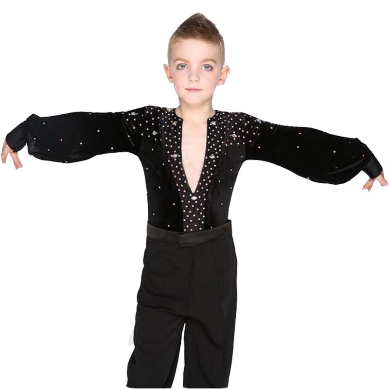 Boys Long Sleeve Latin Dance Shirts Leotard Ballroom Dance Tops High-Grade Velvet Drill Latin Dance Shirt