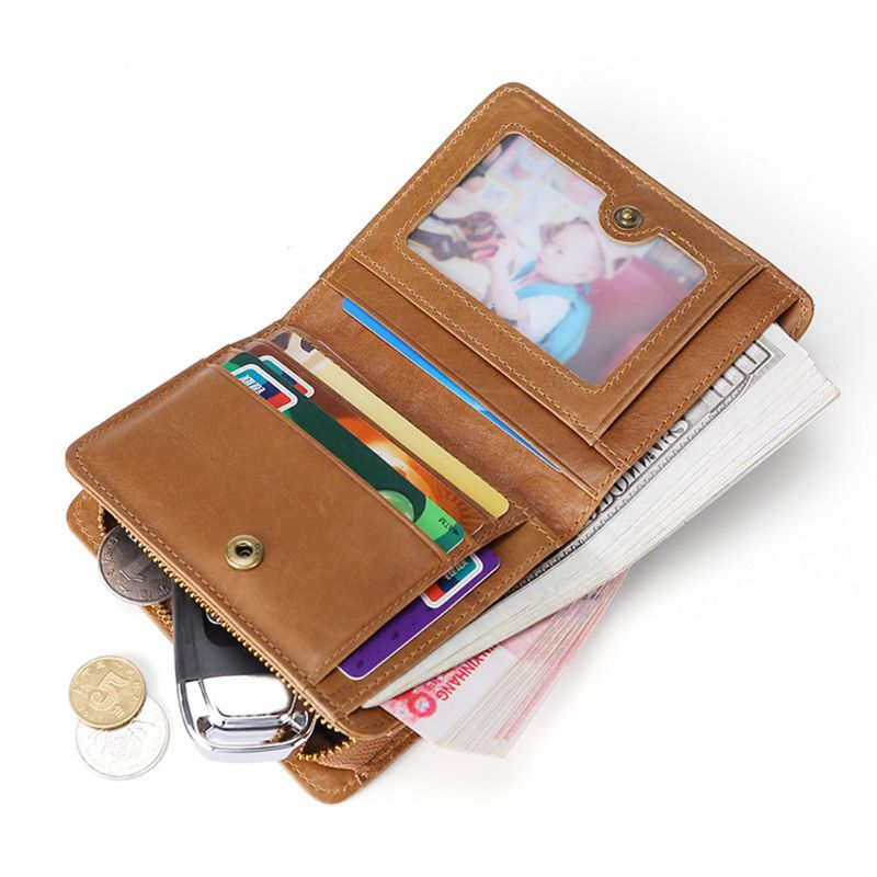 THINKTHENDO 2019 Men's Genuine Leather RFID Blocking Wallet Pocket Credit Card Holder Business Clutch Purse