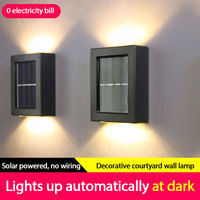 2pcs solar wall lamp outdoor garden waterproof household wall lamp light up and down decorative garden lamps hiking and camping
