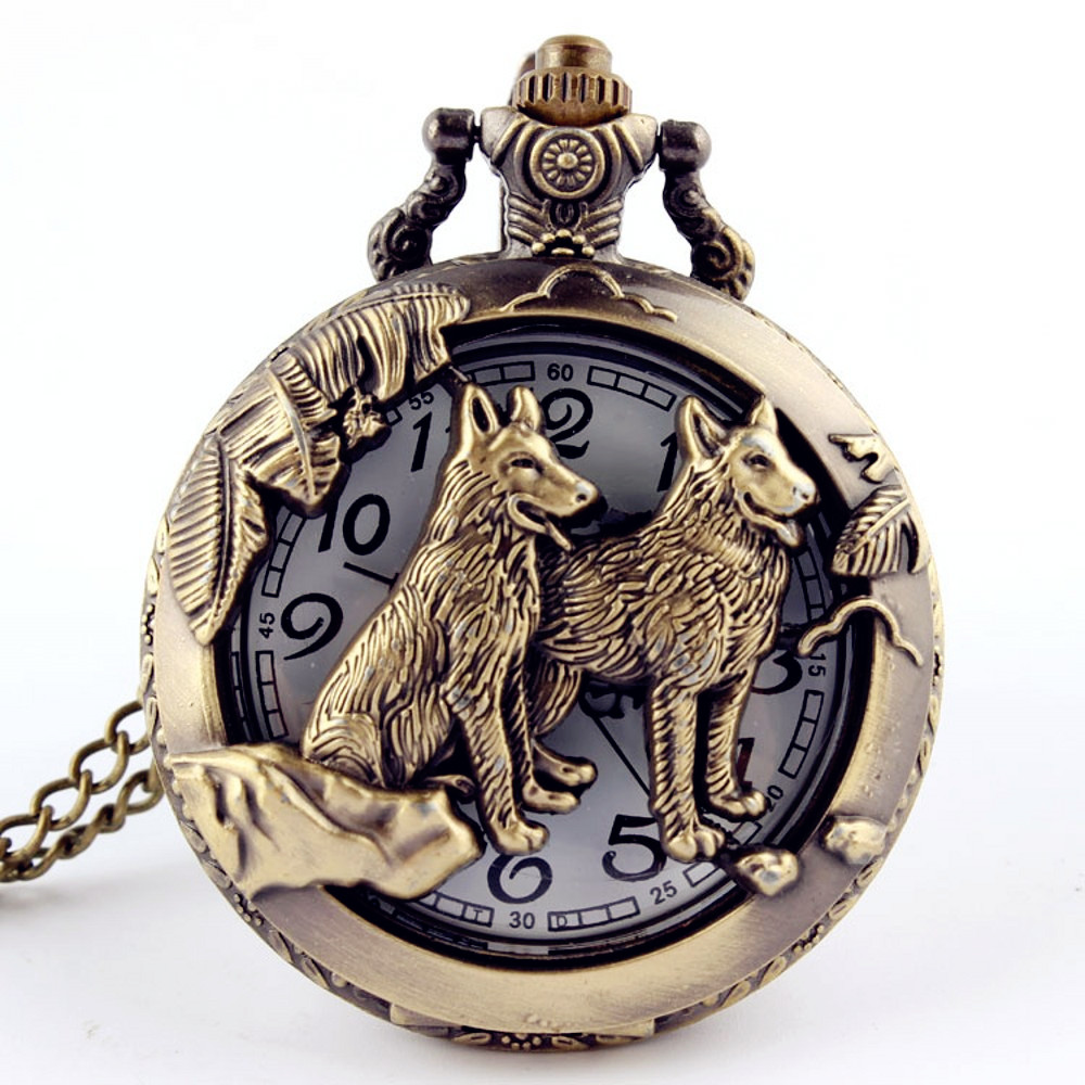 Retro Bronze Wolf Hollow Design Quartz Pocket Watch Mens Women Necklace Pendant FOB Chain Steampunk Pocket Watches Dropshipping