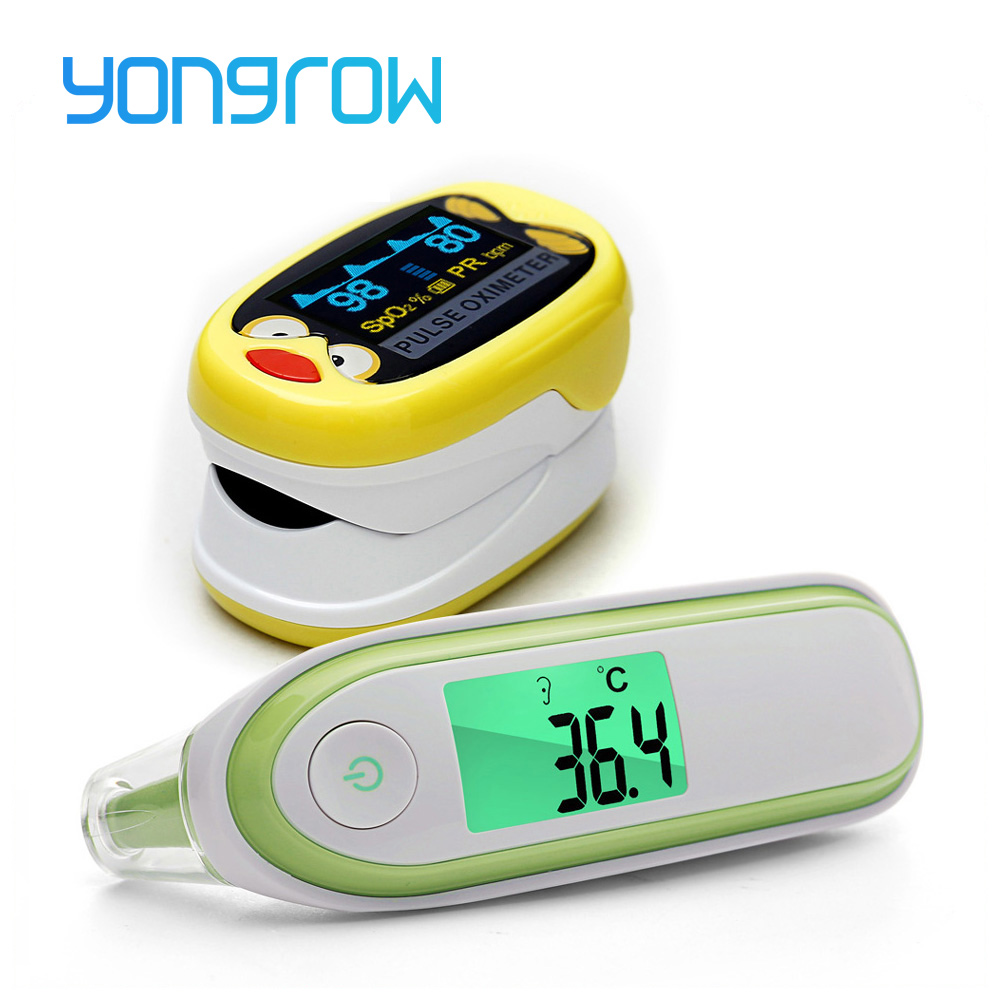 Yongrow das crianças das crianças De Pulso De Dedo Oxímetro de pulso Dedo oxímetro Pediátrico SpO2 Saturação Medidor de Termômetro de Orelha K1 IRT1