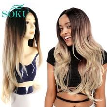 SOKU Ombre בלונד סינטטי תחרה קדמית ארוך גלי פאות עבור נשים התיכון חלק טבעי גל תחרה קדמי פאות אופנתיים ארוך שיער פאות