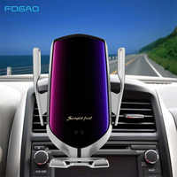 Aperto automático carro carregador sem fio 10 w carga rápida para iphone 11 pro xr xs huawei p30 pro qi sensor infravermelho suporte do telefone