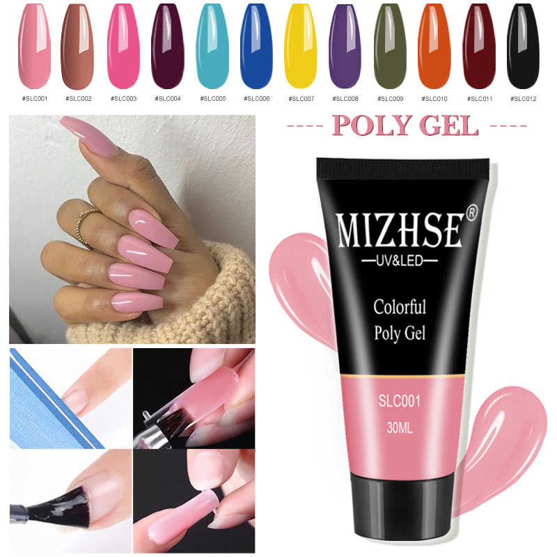 Mizhse Nail Extension Poly Gel Nail Art Kits Polygel 12 Kleuren Uv Builder Gel Nail Polish Brush Snelle Builder Gel top Base Coat