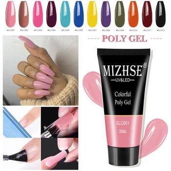 MIZHSE Nail Extension Poly Gel Art Kits Polygel 12 Colors UV Builder Polish Brush Fast Top Base Coat