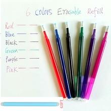 Artykuły papiernicze zmazywalny długopis napełnianie pisanie dostawcy wkład cierny Student biurowy 6 długopisy żelowe w różnych kolorach pręt papelaria materiał escolar