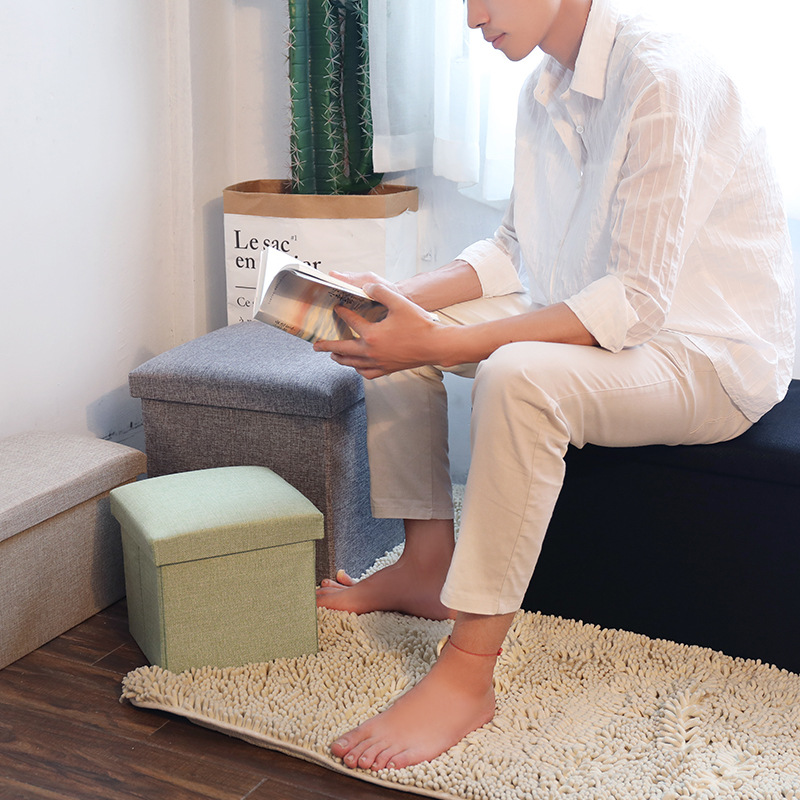 Multi-functional Foldable Cotton Linen Storage Chair Storage Box Finishing Box Footstool Fabric Storage Stool Adult Box