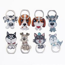 Personality Cute Cartoon Dog Husky Acrylic Ring Buckle Holder Stand For Xiaomi Huawei All Phone Lovely Animal Cell Phone Stand(China)