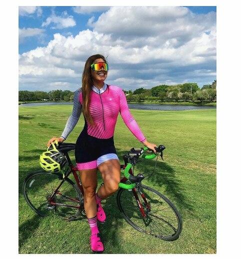 Triathlon skinsuit verão esportes das mulheres manga longa conjunto camisa de ciclismo macacão roupa feminina uniforme 2020 4