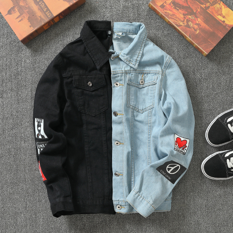 Jeans Coat Men Handsome Jacket Korean-style Trend Men'S Wear Plus-sized Large Size Black And White With Pattern Blue