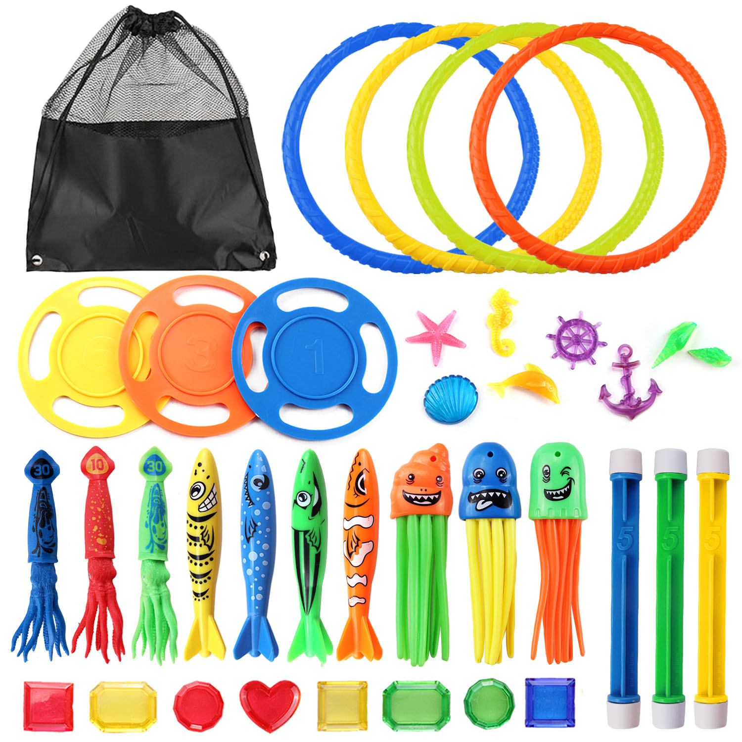 36PCS Funny Kids Diving Toys Set Underwater Water Play Toys With Storage Bag For Boys Girls Summer Games Swimming Pool Party