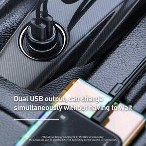 Image 4 - Baseus carro bluetooth 5.0 transmissor fm sem fio mp3 player receptor 3a duplo usb carregador de carro isqueiro para samsung