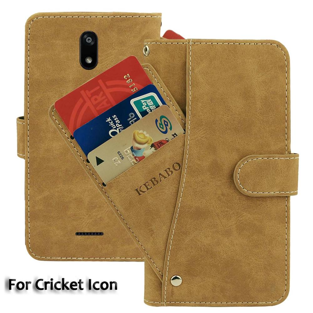Vintage Leather Wallet Cricket Icon Case 5.5 Flip Luxury Card Slots Cover Magnet Phone Protective Cases Bags image