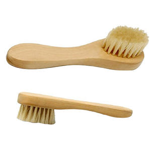 Wooden Handled Boar-Bristle Brush Face Brush Natural Bristle Wood Hand - Skincare & Spa Products