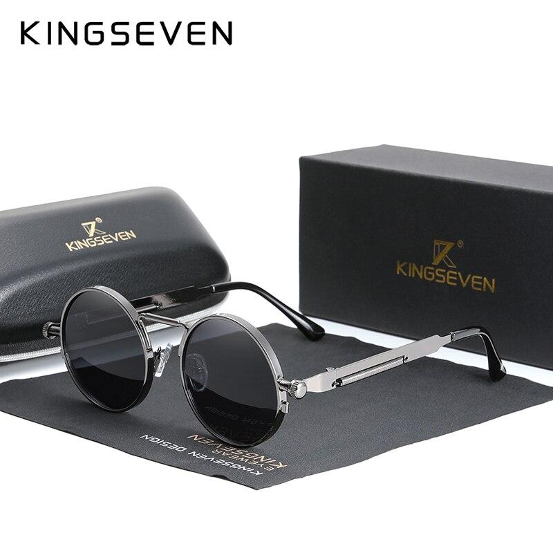 KINGSEVEN عالية الجودة القوطية Steampunk النظارات الشمسية الاستقطاب الرجال النساء العلامة التجارية مصمم Vintage إطار معدني مستدير نظارات شمسية