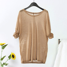 Winter Fashion Plus Size Women Long Sleeve V Neck Loose Casual Tops Solid Knitting Sweaters