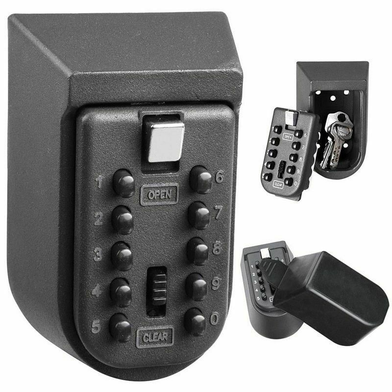 New Black Heavy Duty Key Hidden Storage Safe Box With 4-Digital Password Lock Can Use Indoor And Outdoor