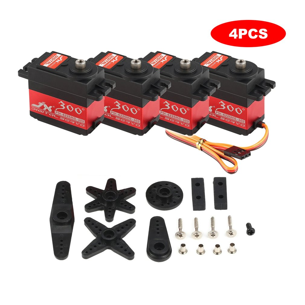 <font><b>4</b></font> PCS JX PDI-6225MG-300 Metal Gear Digital Servo with 25kg High Torque for RC Car Robot Airplane Aircraft Drone <font><b>DIY</b></font> image