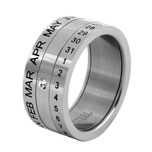 Punk Rotatable Date Time Calendar 3 Part Roman Numerals Stainless Steel Rings for Men Lovers Spinner Bijoux with Crystal