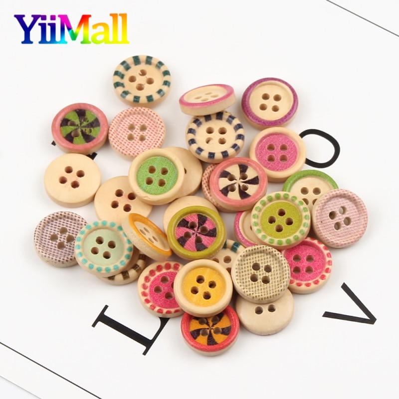 50 шт Смешанные печатные 15 мм Натуральные Цветные деревянные кнопки для украшения одежды DIY Детская одежда скрапбук Швейные аксессуары