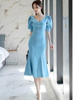 Solid Color Office Lady Dress Summer Short Sleeve High Waist Elegant Party Midi Female Fashion Women