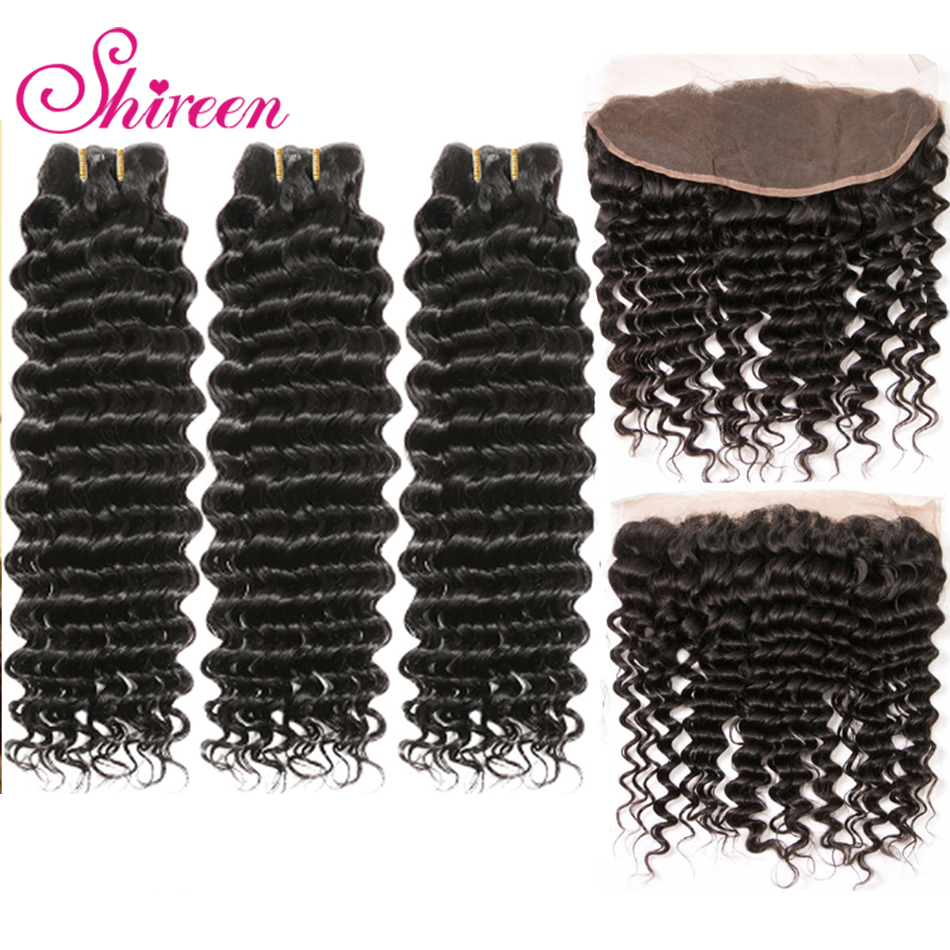 Shireen Malaysian Deep Wave Remy Human Hair 3Bundles With Ear To Ear Closure Deep Hair 13x4 Lace Frontal Closure With Bundles