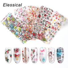 10pcs/Set Holographic Nail Foil Design Christmas Art Transfer Sticker Water Slide Decals manicure Decoration