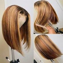 Perruque Bob Lace Front wig sans colle brésilienne naturelle, cheveux courts lisses, balayage #4/27, ombré, 13x4, pour femmes