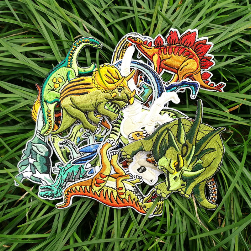 Dinosaur Embroidery Patch Cloth With Back Glue Close Stickers Shoes Package Decoration T-shirt Chest And Sleeve Patch Hole