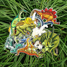 Dinosaur embroidery patch cloth with back glue close stickers shoes package decoration T-shirt chest and sleeve patch hole(China)