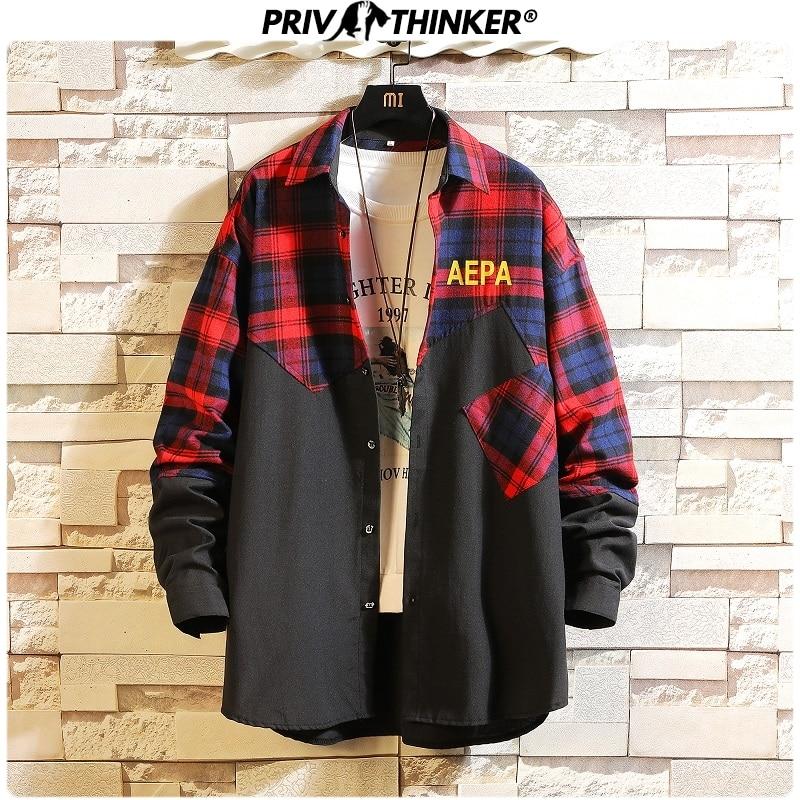 Privathinker 2019 Patchwork Men Casual Shirts Korean Colorful Shirts Mens Autumn Vintage Fashion Male Clothes Tops Plus Size 5XL
