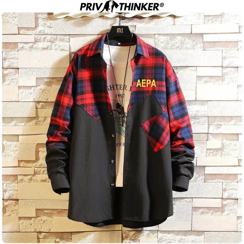 Privathinker 2020 Patchwork Men Casual Shirts Korean Colorful Shirts Mens Autumn Vintage Fashion Male Clothes Tops Plus Size 5XL