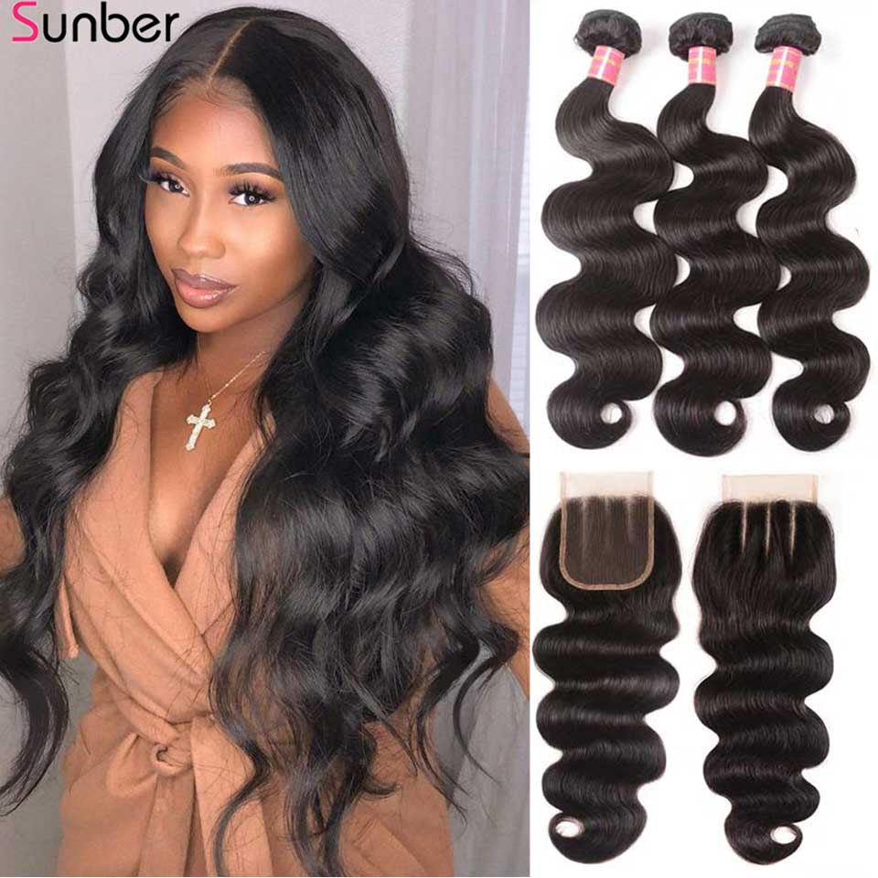 Sunber Hair Peruvian Body Wave Hair Bundles With Closure High Ratio Remy Hair 3/4 Bundles With Closure Double Machine Hair Weft title=