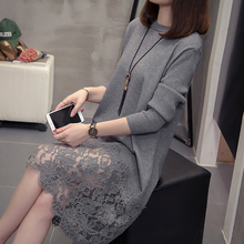 Nkandby Plus Size Lace Patchwork Pullover Knitted Dress 2020 Autumn Winter Fashion Long Sleeve Oversize Office Sweater Dresses