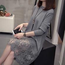 Nkandby vestido de punto con manga larga para otoño e invierno, Jersey de punto con encaje de talla grande para oficina, 2020