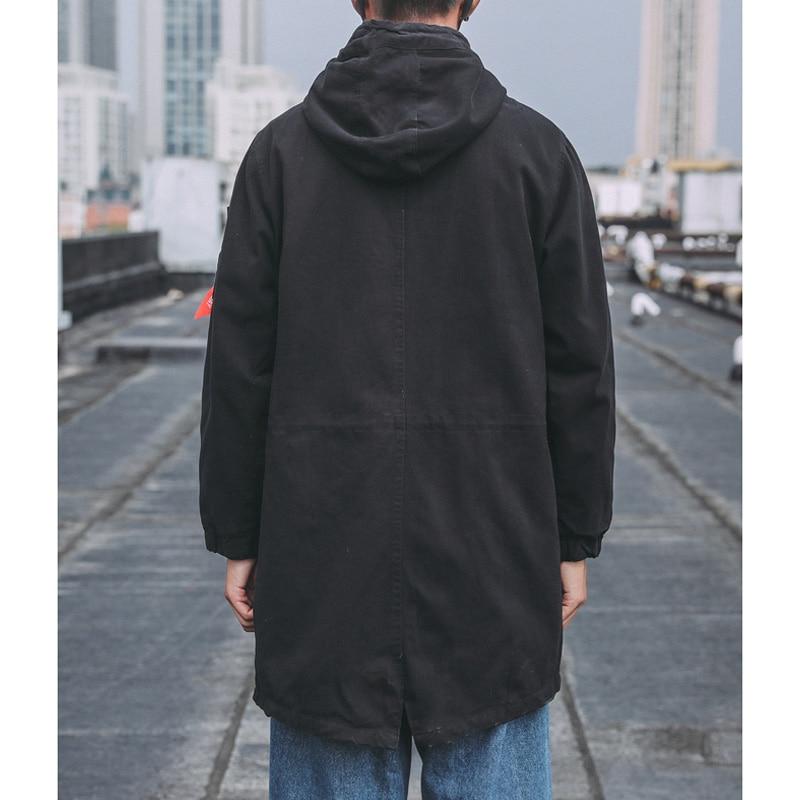 Мужская куртка, весна и осень 2019, новинка, Длинная ветровка, пальто, модное, повседневное, тонкое, хлопок, с капюшоном, одноцветное, пальто раз... - 5