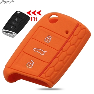 3 Buttons Silicone Car Key Cover Case For VW Volkswagen New Polo Golf 7 mk7 Tiguan SKODA Octavia A7 Kodiaq Karoq SEAT Ateca Leon(China)