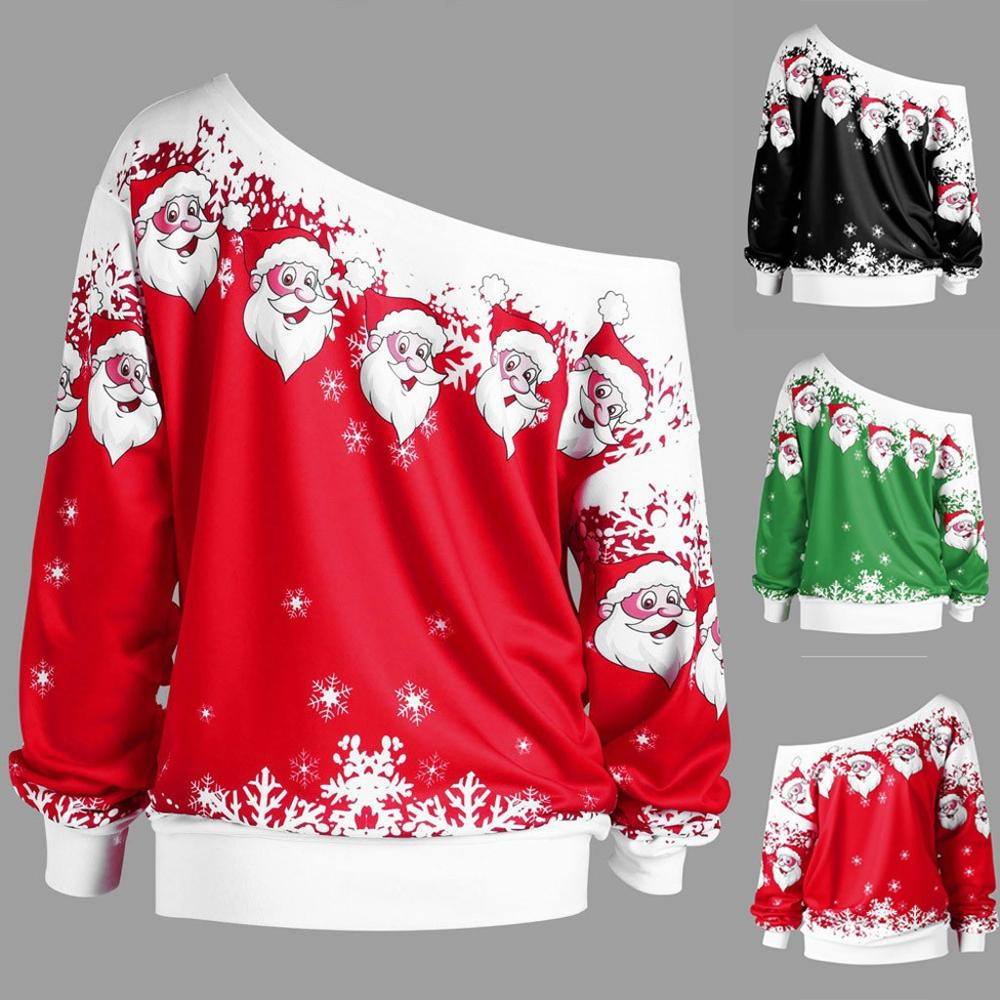 2019 Women Jumper Christmas Sweater Pullover Tops Coat Snowflake Winter Off Shoulder Warm Brief Sweaters Clothing Sweater