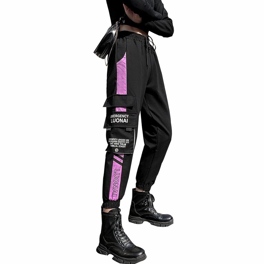 Pantalones Cargo Holgados De Moda Para Mujer Sudadera Con Bolsillos Grandes Informales De Cintura Elastica Hasta El Tobillo Jogger Pantalones Y Pantalones Capri Aliexpress