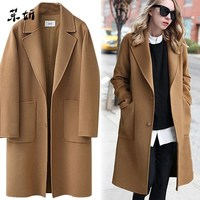 Woolen Women High Quality Loose Elegant Single Breasted Wool Coat Large Size Women Korean Casual Coat Autumn And Winter Fashion