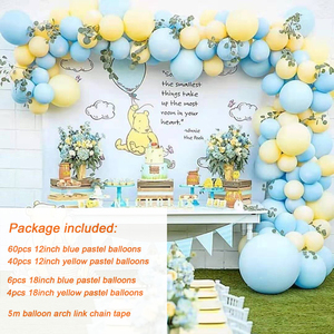 Image 3 - 111pcs/set Macaron Blue Yellow Pastel Balloon Garland Arch Set for Boys Birthday Party Wedding Background Wall Decoation