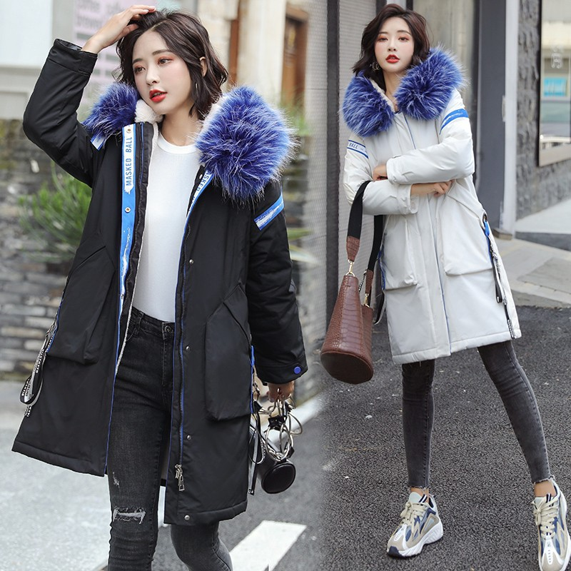 Korean-style Mid-length down Jacket Cotton-padded Clothes Parka Inner Wearing Have Lambs Wool Thick Women's Winter Coat 2019 Win