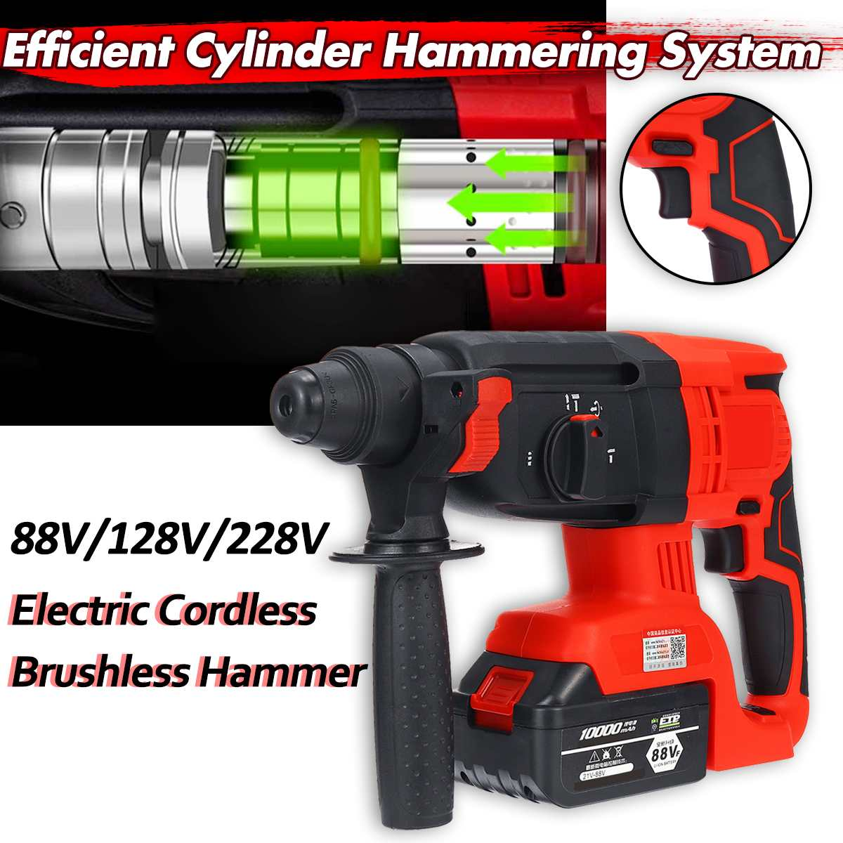 3 IN 1 110-240V 88V/128V/228V Electric Cordless Brushless Hammer Drill Impact Power Drill With Lithium Battery Rechargea