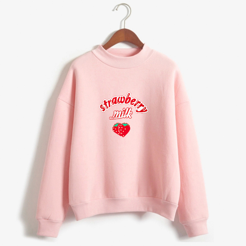 Harajuku Kawaii Strawberry Hoodie Sweatshirt Women Korean Fashion Kpop Street Style Sweatshirts Schoolgirl Streetwear